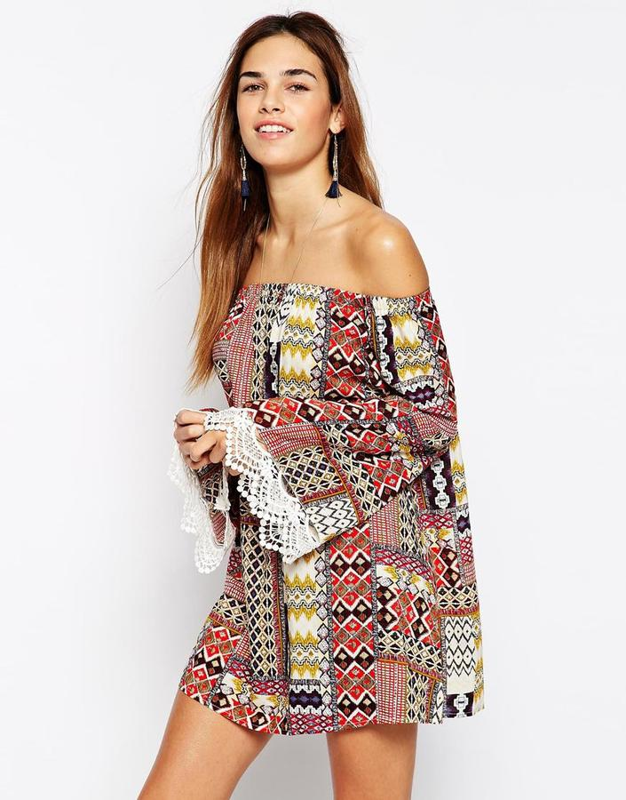 Kiss The Sky Off Shoulder Printed Dress With Lace Trim Flare Sleeves