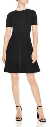 Sandro Luigi Embellished Collar & Ribbed Skirt Dress