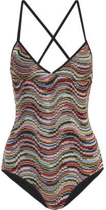 Missoni Mare Metallic Crochet-knit Swimsuit - Red