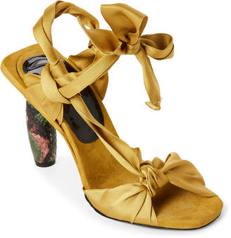 Yellow Satin & Snake-Effect Knotted Sandals