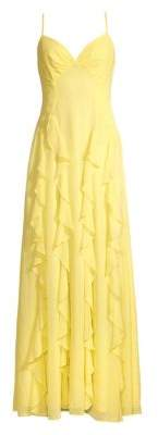 BCBGMAXAZRIA Women's Ruffle Gown - Canary Yellow - Size 0