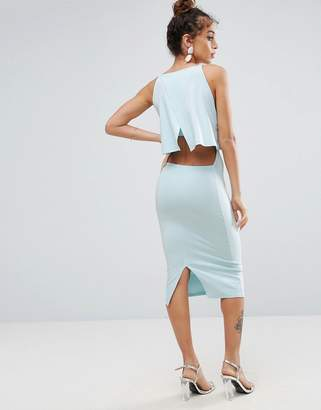 Asos Design Crop Top Midi With Strap Back Dress