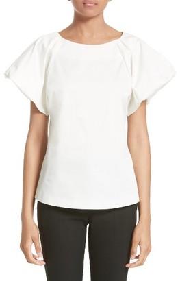 Women's Armani Collezioni Stretch Cotton Puff Sleeve Blouse $475 thestylecure.com