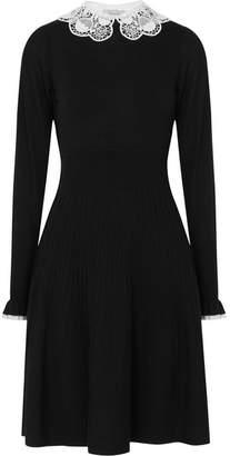 Temperley London Guipure Lace-trimmed Merino Wool Dress - Black