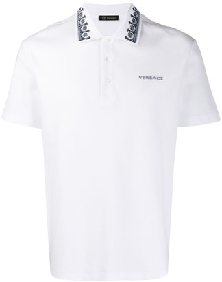 Versace contrasting embroidery polo shirt