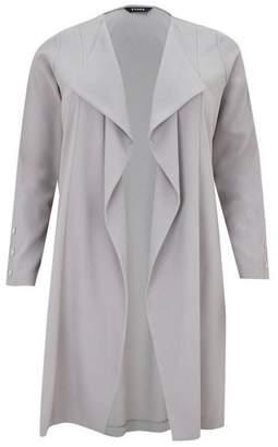 Evans Grey Longline Stud Detail Jacket