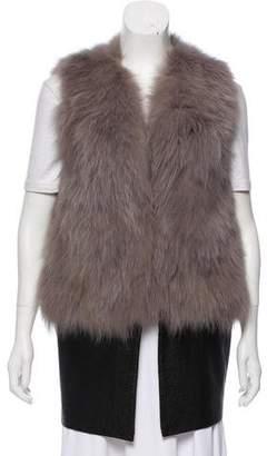 Ramy Brook Leather-Paneled Fox Fur Vest