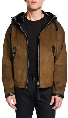 Tom Ford Men's Leather Zip-Front Sports Hoodie