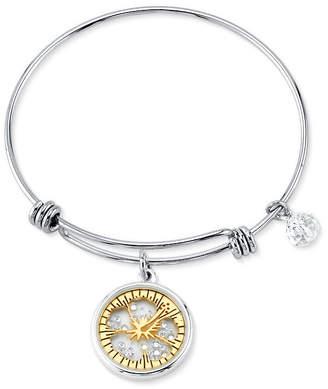 "Disney Two-tone Crystal ""Ohana"" Glass Shaker Adjustable Bangle Bracelet in Stainless Steel for Unwritten"