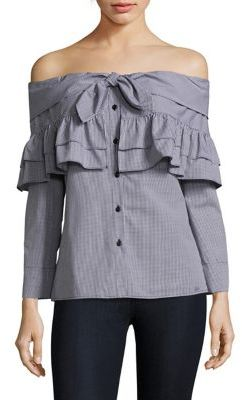 Petersyn Georgia Off-The-Shoulder Ruffle Blouse $274 thestylecure.com