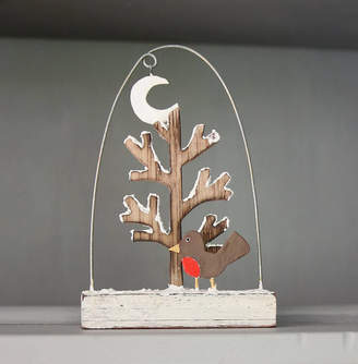 Red Lilly Robin And Snowy Tree Christmas Decoration