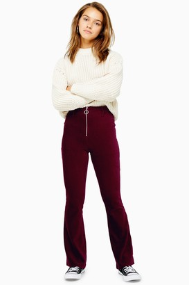 Topshop Womens Petite Corduroy Flares With Zip - Burgundy