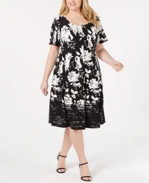 Robbie Bee Plus Size Printed A-Line Dress