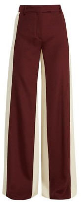 Valentino Wide Leg Low Waist Stripe Tailored Trousers - Womens - Burgundy