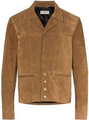 Saint Laurent suede button-down jacket