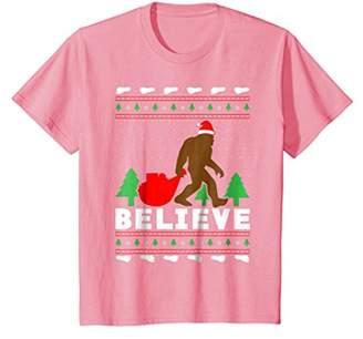 Christmas Believe Shirt FUNNY Bigfoot Ugly Xmas Sweater Tee