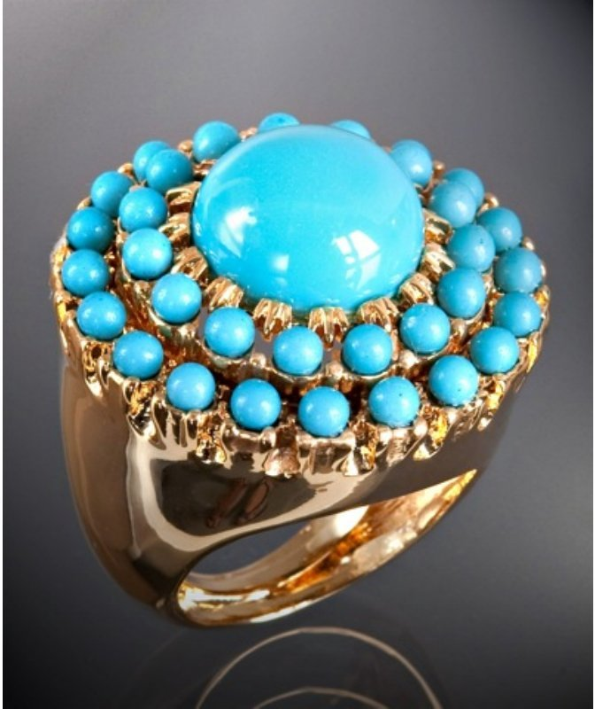 Kenneth Jay Lane turquoise resin round cocktail ring