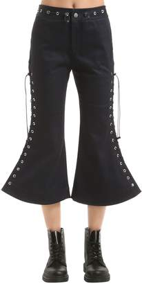 Flared Lace-Up Cropped Pants