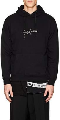 Yohji Yamamoto Men's Logo-Embroidered Cotton French Terry Hoodie