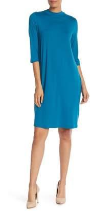 Eileen Fisher Mock Neck Long Sleeve Knit Dress