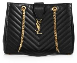 Saint Laurent Monogram Mattelasse Leather Shopping Tote $2,550 thestylecure.com