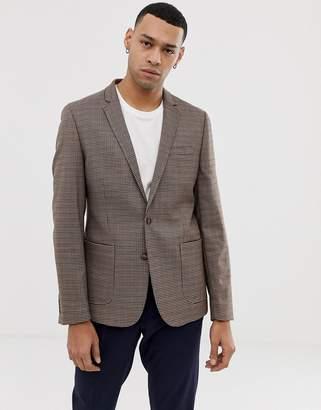 Asos Design DESIGN skinny blazer in brown micro check