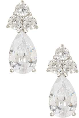 Savvy Cie Sterling Silver Cluster & Pear Simulated Diamond Drop Earrings