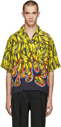 Prada Multicolor Short Sleeve Bananas and Flames Shirt