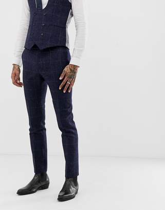 Twisted Tailor woven in england super skinny suit pants in navy tweed check