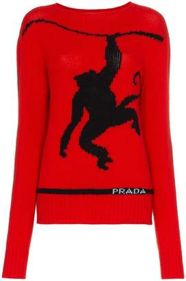 Prada monkey intarsia wool cashmere blend jumper