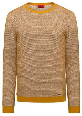 HUGO BOSS Crew-neck sweater in a structured cotton blend