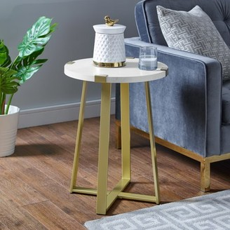"Manor Park 18"" Rustic Wood and Metal Round Side Table, Reclaimed Farmhouse"