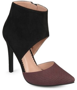 Co Brinley Collection Brinley Women's Faux Suede Faux Leather Ankle Cuff Two-tone High Heels