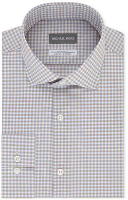 Michael Kors Men's Slim-Fit Non-Iron Airsoft Stretch Performance Check Dress Shirt