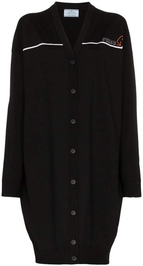 Prada long sleeve logo woven cardigan