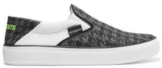 Vetements Logo-print Collapsible-heel Canvas Slip-on Sneakers - Black