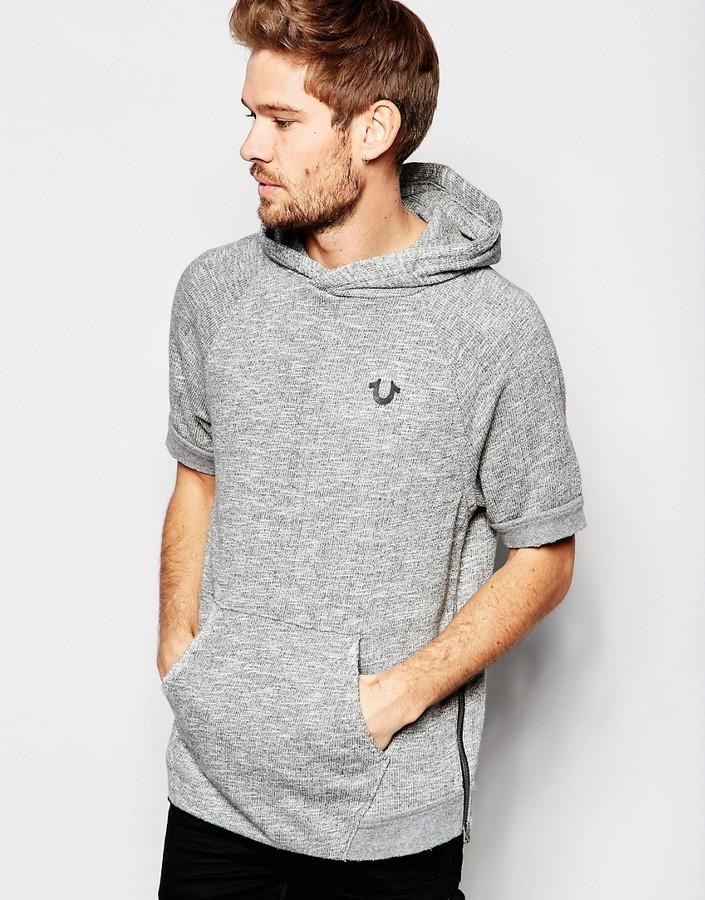 True Religion Short Sleeve Distressed Logo Hoodie