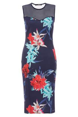 Quiz Navy Aqua And Red Mesh Bodycon Dress