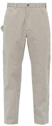 A.P.C. Job Striped Cotton Blend Trousers - Mens - Grey
