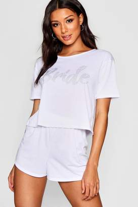 boohoo Diamante Bride PJ Short Set