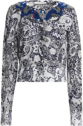 Marc Jacobs Sequin-Embellished Distressed Metallic Jacquard-Knit Cardigan