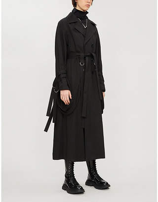 Limi Feu Fringed asymmetric double-breasted cotton and linen-blend coat