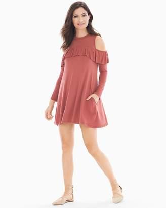 Elan International Cold Shoulder With Ruffle Short Dress Rust