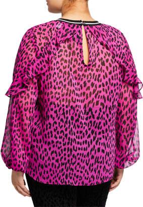 Rachel Roy Lucky Leopard Ruffle Striped Blouse, Plus Size
