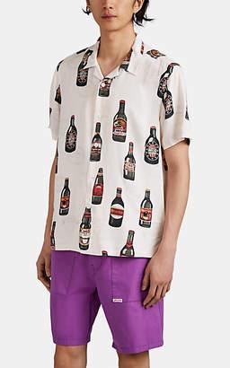 Ovadia & Sons Men's Beer-Print Camp-Collar Shirt - White