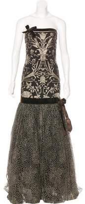 Naeem Khan Metallic-Embroidered Evening Gown