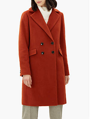 Boucle Double Breasted Coat, Rust