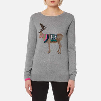 Joules Women's Festive Luxe Embellished Intarsia Jumper
