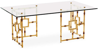 One Kings Lane Bamboo Float Glass Coffee Table - Gold