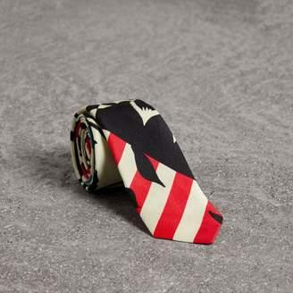 Burberry Slim Cut Floral Stripe Print Linen Silk Tie